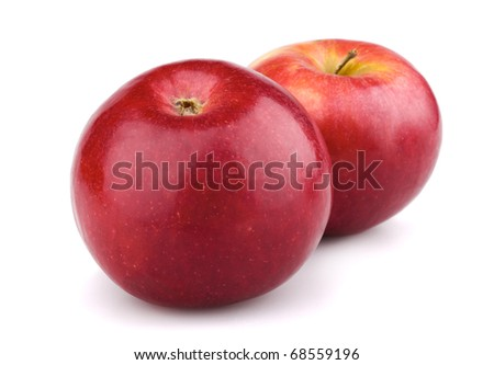 Two red apples isolated on white background - stock photo