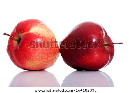 Two red apples over white isolated on white.  - stock photo