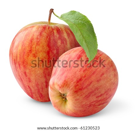 Two red apples with leaf  isolated on white - stock photo