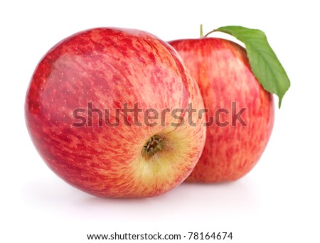 Two red apples with leaf isolated on white background - stock photo
