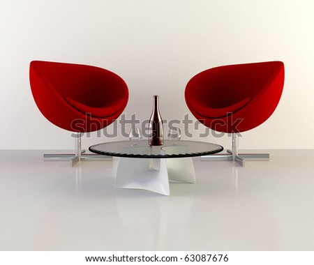 two red armchairs with table - stock photo