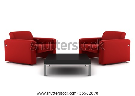 two red armchairs with table isolated on white background with clipping path - stock photo