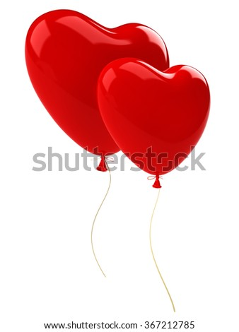 Two red balloon hearts  with gold ribbon. Isolated on white background - stock photo