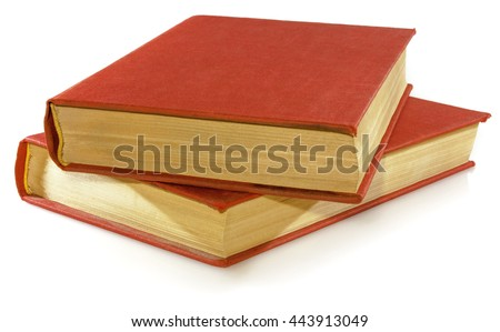 Two red book isolated on white on white background. - stock photo