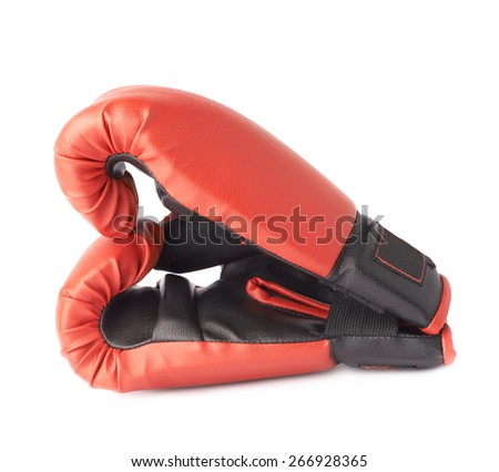 Two red boxing gloves composition isolated over the white background - stock photo