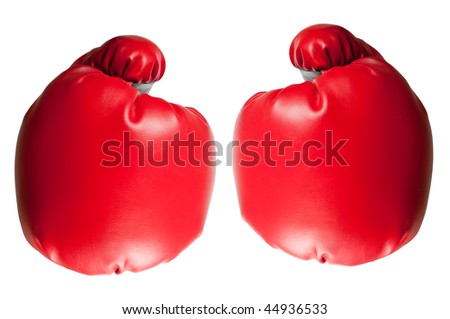 Two red boxing gloves isolated on white background - stock photo