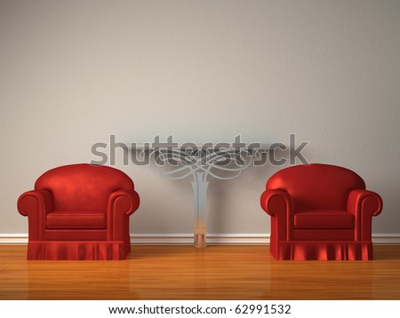 Two red chairs with metallic console in minimalist interior - stock photo