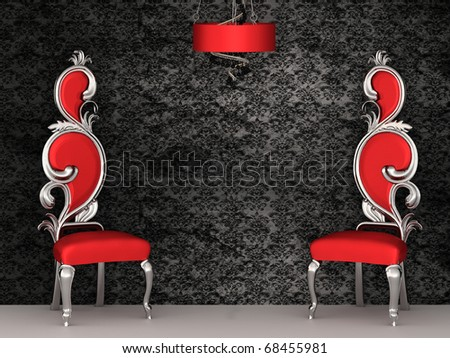 Two red chairs with royal back isolated on ornament wallpapers - stock photo