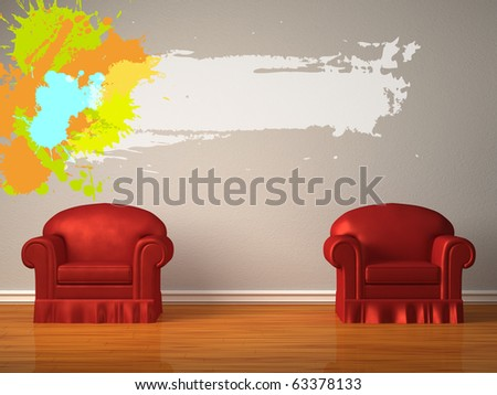 Two red chairs with splash frame in minimalist interior - stock photo