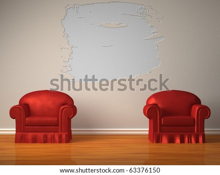Two red chairs with splash hole in minimalist interior - stock photo