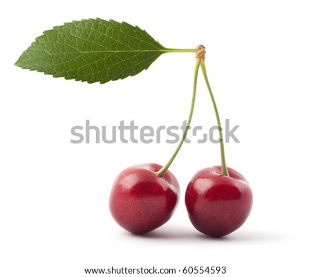 Two red cherries isolated on a white background - stock photo