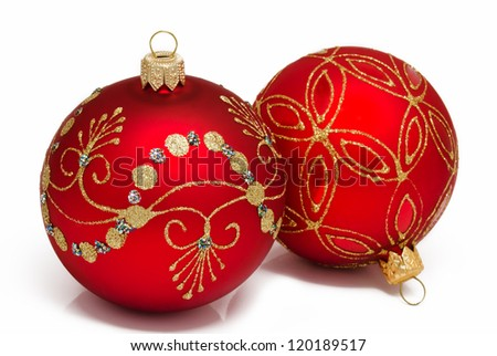 Two red christmas ball on a white background
