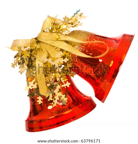 two red christmas bells on a white background