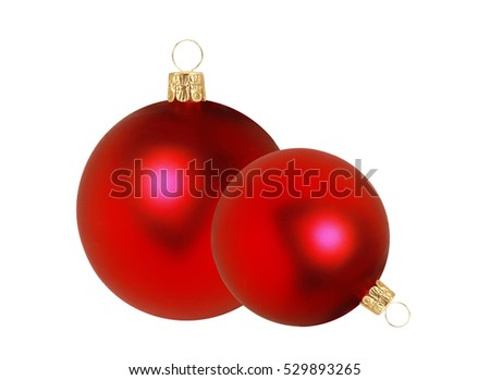 Two red Christmas decor balls isolated on white background