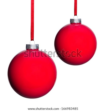 two red Christmas tree balls isolated before white background - stock photo