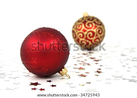 Two red christmas tree baubles with silver stars on white background