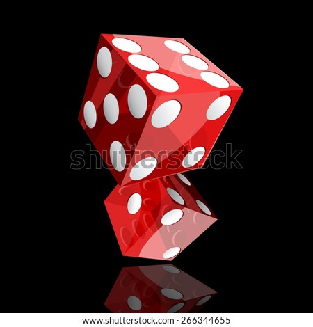 two red dice cubes on black background. - stock photo