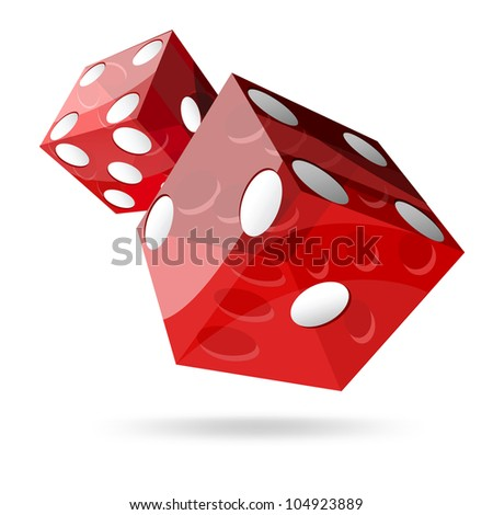 two red dice cubes on white background. - stock photo