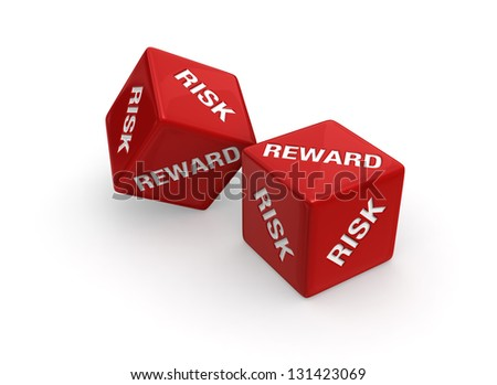 Two red dice engraved with RISK and REWARD roll on white background. - stock photo