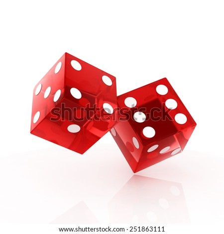 two red dice isolated - stock photo