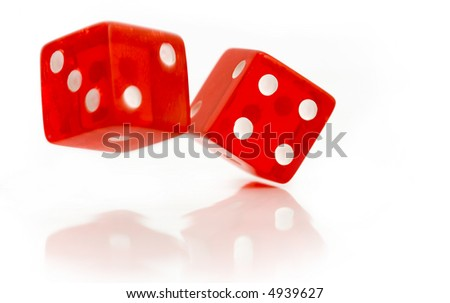 Two red dice isolated on white - stock photo