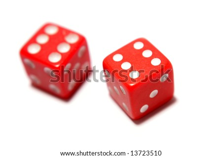 Two red dice isolated over white