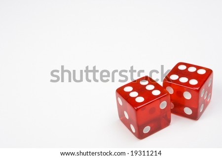 Two Red Dice on Light Background