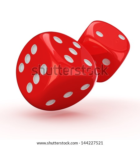 Two red dice rolling on the white background