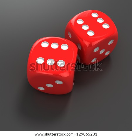 Two red dice with number six
