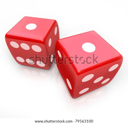 Two red dice with ones facing up symbolizing snake eyes, a score you might get in a gambing game at a casino - stock photo
