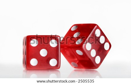 Two red dices - stock photo