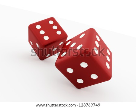 Two red dices isolated on white background - stock photo