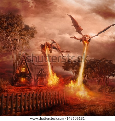 Two red dragons attacking the village - stock photo