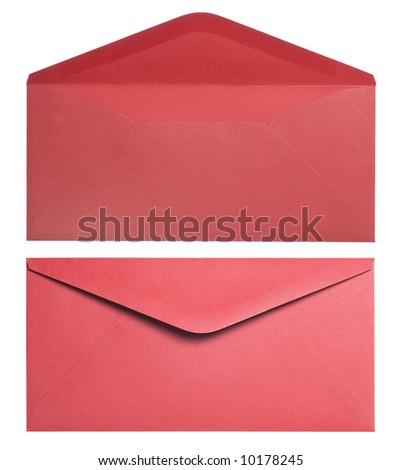 Two red envelopes on a white background
