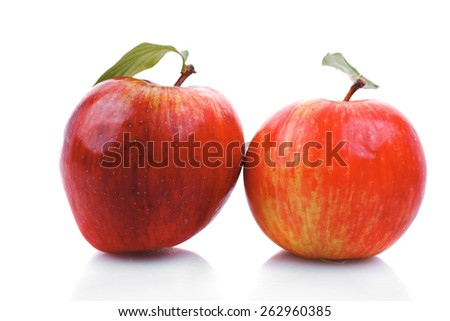 two red fresh ripe apple isolated over white background - stock photo
