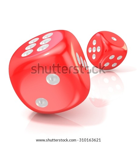 Two red game dices. 3D render illustration isolated on white background - stock photo
