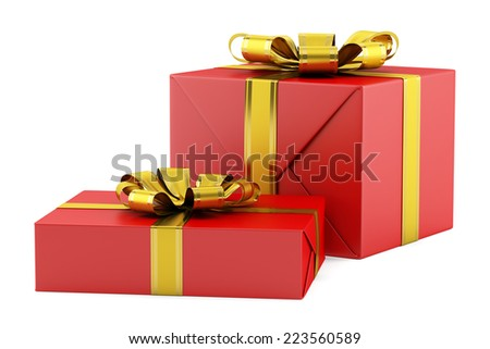 two red gift boxes with golden ribbons isolated on white background - stock photo