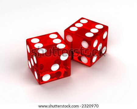 Two red glass dices rendered on the white background - stock photo