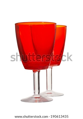 two red glass on white background