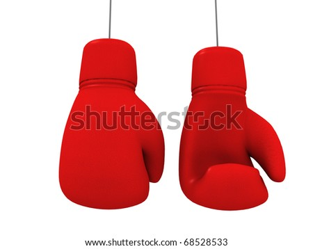 two red gloves hanging