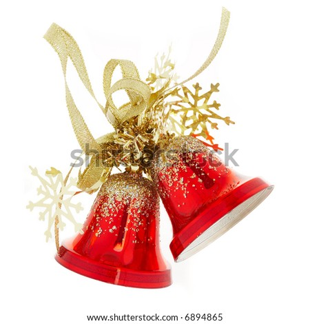Two red handbells on a white background - stock photo