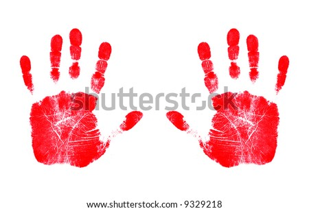Two Red Hands - stock photo