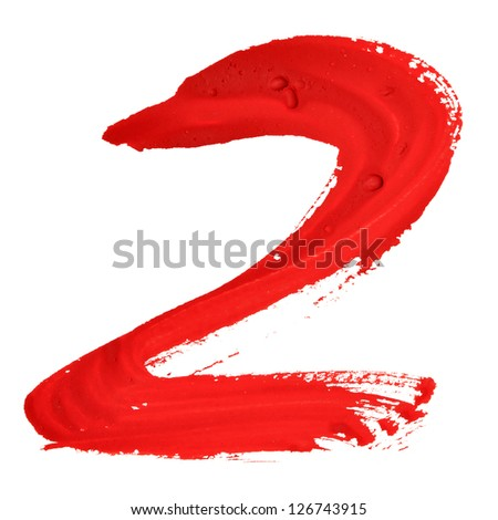 Two - Red handwritten numerals over white background - stock photo
