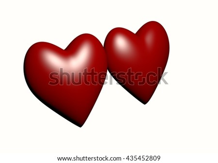 Two red heart isolated on white background, red heart-shaped. hearts 3D rendering.Valentine's Day and Love Symbol. Couple of  Heart Isolated on White Background  - stock photo