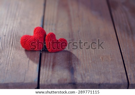 Two red heart, valentines day postcard, love you, I love you, - stock photo