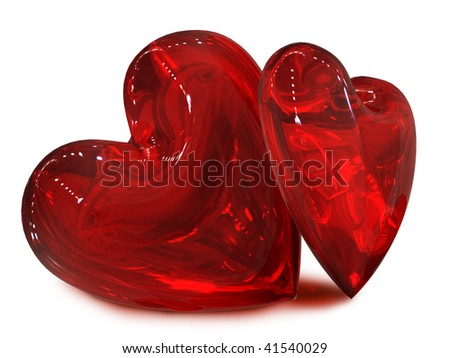 two red hearts in pair - stock photo