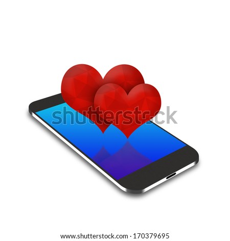 two red hearts  on smartphone,cell phone illustration