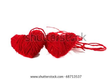 Two red hearts on white - stock photo