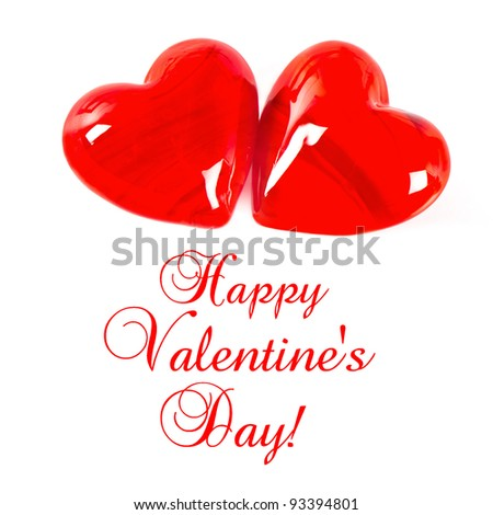 two red hearts on white background. happy valentine's day. card concept