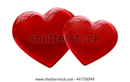 Two red hearts - symbol of love - more variations in portfolio